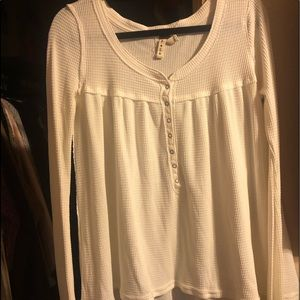 Free People White Ribbed Sweater
